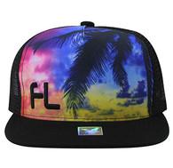 SM853 Florida Mesh Snapback Cap Hat (Solid Black)