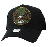 VM547 Eagle Cotton Velcro Cap (Solid Black)