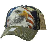 VM856 American USA Eagle Velcro Cap (Black & Hunting Camo)