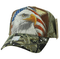 VM856 American USA Eagle Velcro Cap (Brown & Hunting Camo)