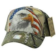 VM856 American USA Eagle Velcro Cap (Khaki & Hunting Camo)