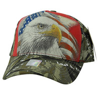 VM856 American USA Eagle Velcro Cap (Red & Hunting Camo)