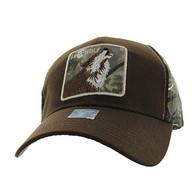 VM403 Lone Wolf Velcro Cap (Brown & Hunting Camo)
