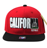 SM779 California Bear Cotton Snapback Cap Hat (Red & Black)