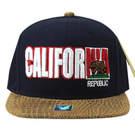 SM779 California Bear Cotton Snapback Cap Hat (Navy & Brown)