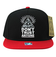 SM914 Don't Trust Anyone Snapback Cap Hat (Black & Red)