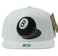 SM412 8 Ball Snapback Cap (White & White)