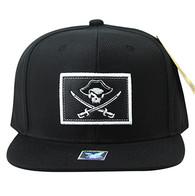 SM917 Skull Cotton Snapback Cap (Black & Black)
