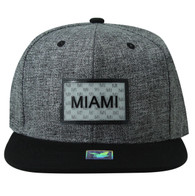 SM814 Miami Cotton Snapback Cap Hat (Charcoal & Black)