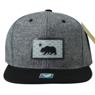 SM814 Cali Bear Cotton Snapback Cap Hat (Charcoal & Black)