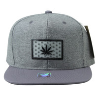 SM814 Marijuana Cotton Snapback Cap Hat (Grey & Grey)
