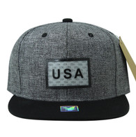 SM814 USA Cotton Snapback Cap Hat (Grey & Grey)