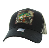 VM403 Big Bass Velcro Cap (Black & Hunting Camo)
