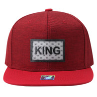 SM814 King Cotton Snapback Cap Hat (Red & Red)