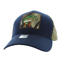 VM403 Big Bass Velcro Cap (Navy& Hunting Camo)