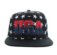 SM369 USA Star Snapback (Solid Black)