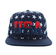 SM369 USA Star Snapback (Solid Navy)