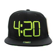 SM597 Marijuana 4:20 Snapback (Black & Black)