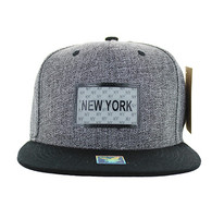 SM814 New York Cotton Snapback Cap Hat (Charcoal & Black)