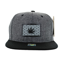 SM814 Marijuana Cotton Snapback Cap Hat (Charcaol & Black)