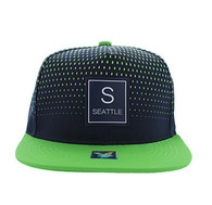 SM852 Seattle City Snapback (Navy & Lime)