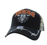VM239 Texas Buffalo Skull Velcro Cap (Black & Hunting Camo)