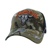 VM239 Texas Buffalo Skull Velcro Cap (Hunting Camo & Black)