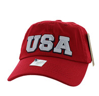 BM573 USA Cotton Buckle Cap (Solid Red)