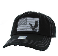 BM766 USA Flag Cotton Buckle Cap (Solid Black)
