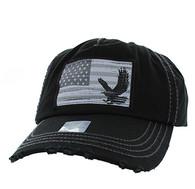 BM766 USA Flag Cotton Buckle Cap (Solid Black)