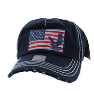 BM766 USA Flag Cotton Buckle Cap (Solid Navy)