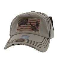 BM766 USA Flag Cotton Buckle Cap (Solid Khaki)