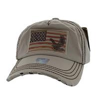 BM766 USA Flag Cotton Buckle Cap (Solid Khaki)