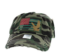 BM766 USA Flag Cotton Buckle Cap (Solid Military Camo)