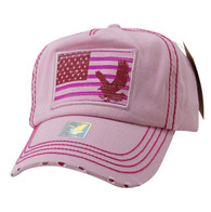 BM766 USA Flag Cotton Buckle Cap (Solid Light Pink)