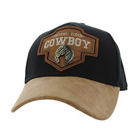 VM644 Cowboy Cotton Velcro Cap (Black & Brown)