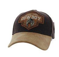VM644 Cowboy Cotton Velcro Cap (Brown & Brown)