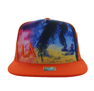 SM853 Los Angeles Mesh Snapback Cap Hat (Solid Orange)