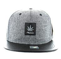 SM859 Marijuana Snapback (Charcoal & Black)