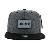 SM814 Chicago Cotton Snapback Cap Hat (Charcoal & Black)