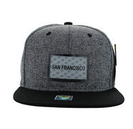 SM814 San Francisco Cotton Snapback Cap Hat (Charcoal & Black)
