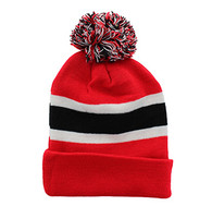 WB070 Plain Pom Pom Beanie (Red & Black)