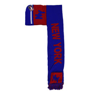 WS030 New York Hoodie Scarf (Royal & Red)