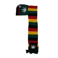 WS030 Marijuana Hoodie Scarf (Rainbow & Kelly Green)
