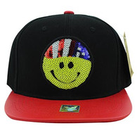 SM002 Smiling Face Emoji Snapback Cap Hat (Black & Red)