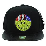 SM002 Smiling Face Emoji Snapback Cap Hat (Black & Black)