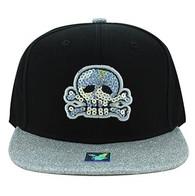 SM002 Skull Snapback Cap Hat (Black & Silver)