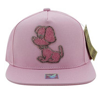 SM011 Skull Snapback Cap Hat (Solid Light Pink)