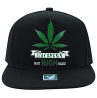 SM027 Marijuana Snapback Cap Hat (Black & Black)