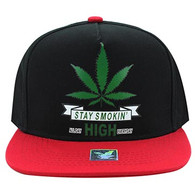 SM027 Marijuana Snapback Cap Hat (Black & Red)